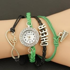 JIANGYUYAN PU Woven Strap Cheers GL68 Quartz Movement Bracelet Watch with Lobster Clasp(Green)