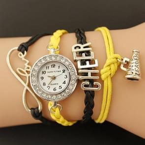 JIANGYUYAN PU Woven Strap Cheers GL68 Quartz Movement Bracelet Watch with Lobster Clasp(Yellow)