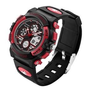 SANDA 4474 Luminous Alarm Function Calendar Display True Seconds Disk Design Multifunctional Sport Men Electronic Watch with Plastic Band(Red)