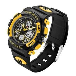 SANDA 4474 Luminous Alarm Function Calendar Display True Seconds Disk Design Multifunctional Sport Men Electronic Watch with Plastic Band(Yellow)