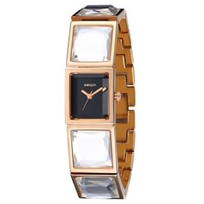 WeiQin 3948 Rectangle Diamond Dial Fashion Women Quartz Watch with Steel Band (Rose Gold Black)
