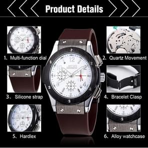 JEDIR 527903 3ATM Waterproof Arabic Numerals Scale Quartz Movement Three Functional Sub Dials(24 Hours, Stopwatch, Minute) Waist Watch with Silicone Band & Luminous Pointer & Calendar Display Function for Men(Brown)