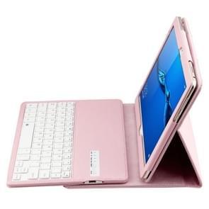 SA104 Huawei M3 Tablet 10.1 inch ABS Litchi structuur blauwtooth toetsenbord beschermings hoesje met houder(roze)