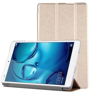 For Huawei Mediapad M3 Lite 8.0 Silk Texture Horizontal Flip Leather Case with Three-folding Holder(Gold)
