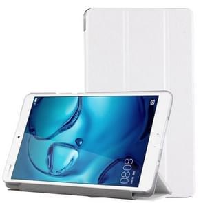 For Huawei Mediapad M3 Lite 8.0 Silk Texture Horizontal Flip Leather Case with Three-folding Holder(White)