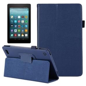For Amazon Kindle Fire 7 (2017) Litchi Texture Horizontal Flip Leather Case with Holder(Dark Blue)