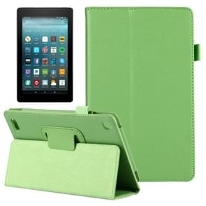 For Amazon Kindle Fire 7 (2017) Litchi Texture Horizontal Flip Leather Case with Holder(Green)