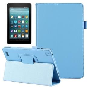 For Amazon Kindle Fire 7 (2017) Litchi Texture Horizontal Flip Leather Case with Holder(Blue)