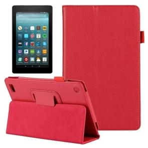 For Amazon Kindle Fire 7 (2017) Litchi Texture Horizontal Flip Leather Case with Holder(Red)