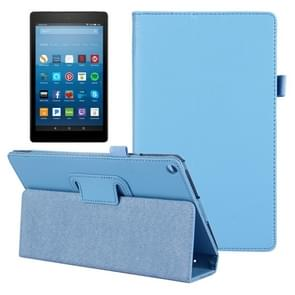 For Amazon Kindle Fire HD8 (2017) Litchi Texture Horizontal Flip Leather Case with Holder(Blue)