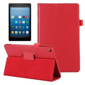 For Amazon Kindle Fire HD8 (2017) Litchi Texture Horizontal Flip Leather Case with Holder(Red)