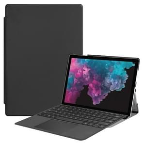 Custer Texture Horizontal Flip PU Leather Case for Microsoft Surface Pro 4 / 5 / 6 12.3 inch, with Holder & Pen Slot(Black)