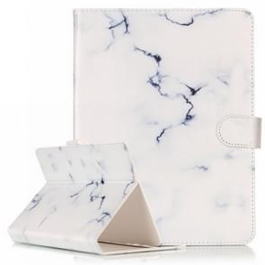 For 8 inch Tablet PC White Marble Pattern universal Horizontal Flip Leather Case with Holder & Card Slots & Wallet(Black)