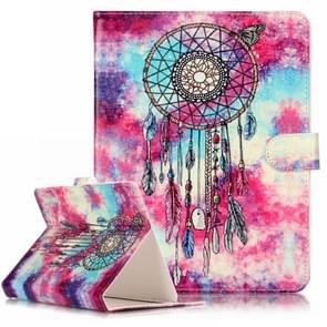 For 8 inch Tablet PC Butterfly Wind Chimes Pattern universal Horizontal Flip Leather Case with Holder & Card Slots & Wallet(Purple)