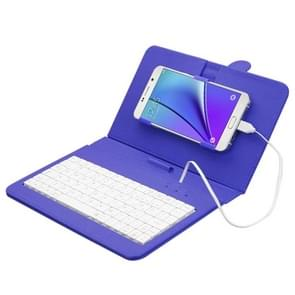 ENKAY Wired Keyboard Leather Protective Case with Holder for Android Tablet / Android Mobile Phone(Dark Blue)