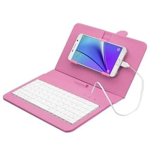 ENKAY Wired Keyboard Leather Protective Case with Holder for Android Tablet / Android Mobile Phone(Pink)