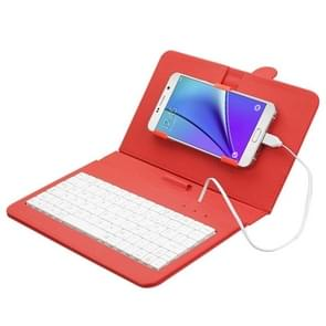 ENKAY Wired Keyboard Leather Protective Case with Holder for Android Tablet / Android Mobile Phone(Red)