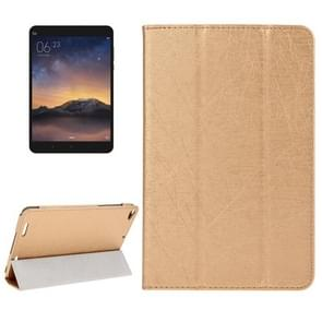 Strokes Texture Magnetic Horizontal Flip Leather Case with 3-folding Holder for Xiaomi Mi Pad 2(Gold)