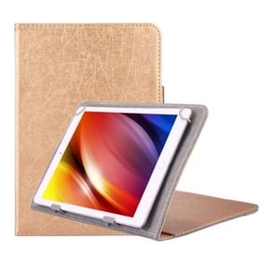 Universal Strokes Texture Horizontal Flip Leather Case with Holder for 10 inch Tablet PC(Gold)