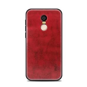 MOFI Xiaomi roodmi 5 Plus PC+TPU+PU lederen beschermings Back Cover hoesje(rood)