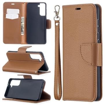 Voor Samsung Galaxy S30 Litchi Texture Pure Color Horizontale Flip Lederen case met Holder & Card Slots & Wallet & Lanyard(Bruin)