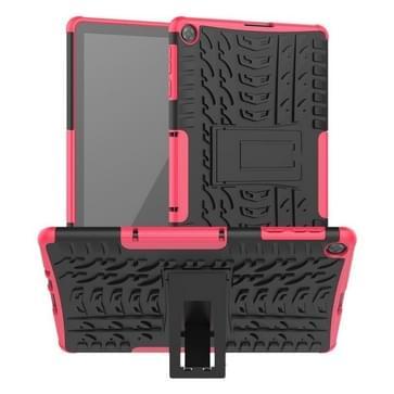 Voor Huawei MatePad T10/T10S/Enjoy 2 Banden Texture Shockproof TPU+PC Beschermhoes met houder(roze)