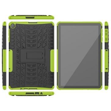Voor Huawei MatePad T10/T10S/Enjoy 2 Banden Texture Shockproof TPU+PC Beschermhoes met houder(groen)