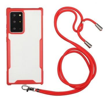 Voor Samsung Galaxy S21 Ultra 5G Acryl + Kleur TPU Shockproof Case met Neck Lanyard (Rood)