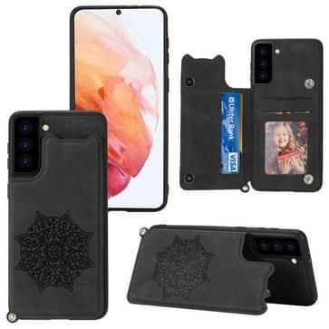 Voor Samsung Galaxy S21 5G Mandala Embossed PU + TPU Case met Holder & Card Slots & Photo Frame & Strap(Zwart)