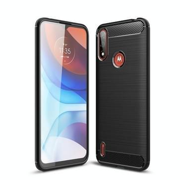 Voor Motorola Moto E7 Power Brushed Texture Carbon Fiber TPU Case (Zwart)