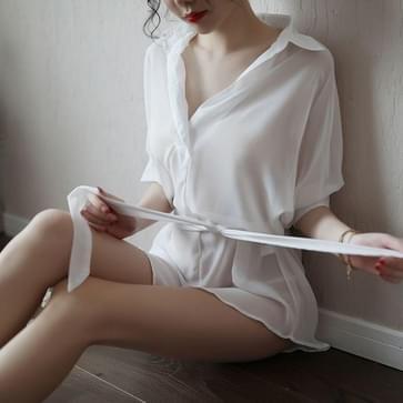 Vrouwen Sexy Ondergoed Transparante Temptation Jumpsuit (Wit)