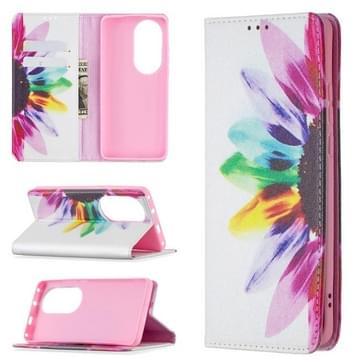 Voor Huawei P50 Pro gekleurde tekening patroon onzichtbare magnetische horizontale flip PU lederen geval met houder en kaart slots &portemonnee (zon bloem)