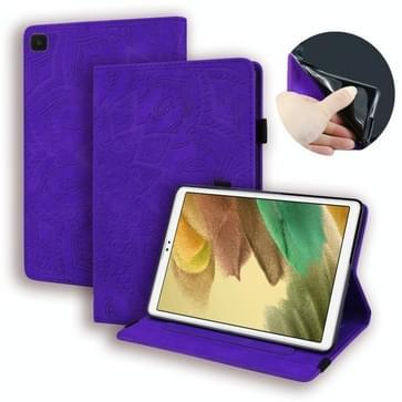 Voor Samsung Galaxy Tab A7 Lite 8.7 (2021) T220 / T225 Kalfspatroon Dubbel opvouwbaar ontwerp reliëf lederen hoesje met houder   kaartsleuven & pennensleuf   elastische band (paars)