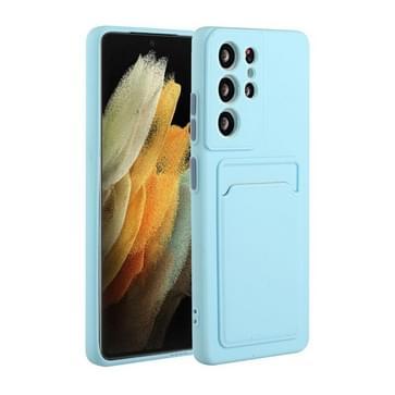 Voor Samsung Galaxy S21 Ultra 5G Kaart slot Design Shockproof TPU Beschermhoes (Hemelsblauw)
