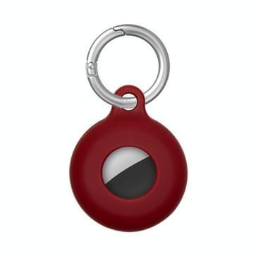 Dual-side holle anti-scratch siliconen schokbestendig beschermhoesje met sleutelhaak haak lus voor airtag (wijn rood)