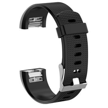 Voor Fitbit Charge 2 Common Texture Siliconen vervangende polsbandje met gesp  grootte: S(Zwart)