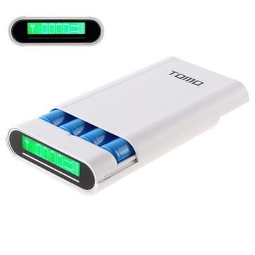 TOMO V8-4 DIY Lader 4 x 18650 batterijen Power Bank Shell Box met LCD display & 2 USB Output voor iPhone  iPad  Samsung  HTC  Sony  batterijen niet Includedwit