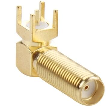 10 Stuks vergulde SMA vrouwtje 90 graden rechtse hoek voor PCB bord bevestiging  met 4.0 mm vierkante Connector Adapter