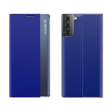 Side Display Magnetic Horizontal Flip Plain Texture Cloth + PC Case met Holder & Sleep / Wake-up Functie Voor Samsung Galaxy S21 Plus(Blauw)