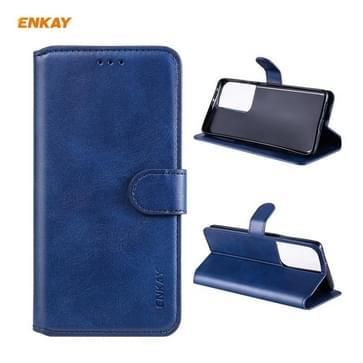 Voor Samsung Galaxy S21 Ultra 5G ENKAY Hat-Prince Horizontale Flip PU Lederen Hoesje met Houder & Kaartsleuven > Portemonnee (Donkerblauw)