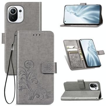 Voor Xiaomi Mi 11 Vierbladige gesp reliëf Gesp Mobiele Telefoon Bescherming Lederen Case met Lanyard & Card Slot & Wallet & Bracket Functie(Grijs)