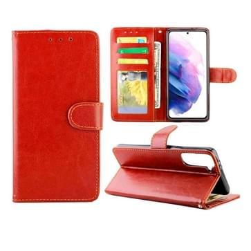 Voor Samsung Galaxy S21+ 5G/S21 Plus 5G Crazy Horse Texture Leather Horizontale Flip Beschermhoes met Holder & Card Slots & Wallet & Photo Frame(Brown)