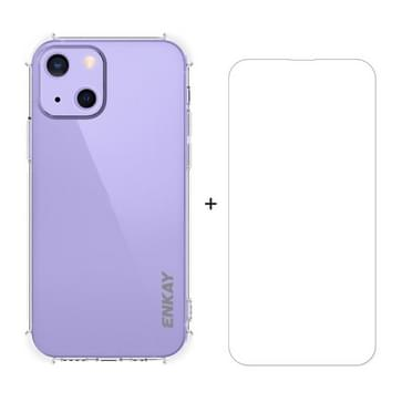 Hat-Prince Enkay Clear TPU Schokbestendig Zachte Case Drop Protection Cover + Clear HD gehard glasbeschermerfilm voor iPhone 13 Mini