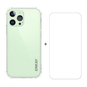 Hat-Prince ENKAY Clear TPU Shockproof Soft Case Drop Protection Cover + Clear HD Gehard Glas Protector Film Voor iPhone 13 Pro
