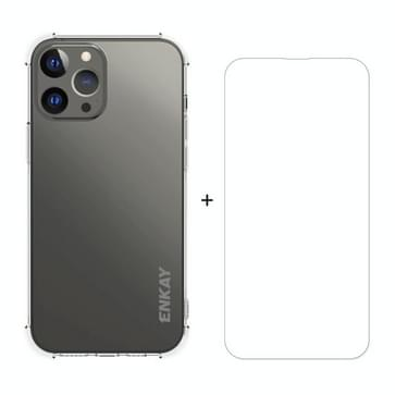 Hat-Prince Enkay Clear TPU Schokbestendig Soft Case Drop Protection Cover + Clear HD Humard Glass Protector Film voor iPhone 13 Pro Max