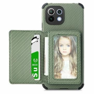 Voor Xiaomi MI 11 Lite Carbon Fiber Magnetic Card Tas TPU + PU Schokbestendig Achterkant Case met Houder & Card Slot & Fotolijst