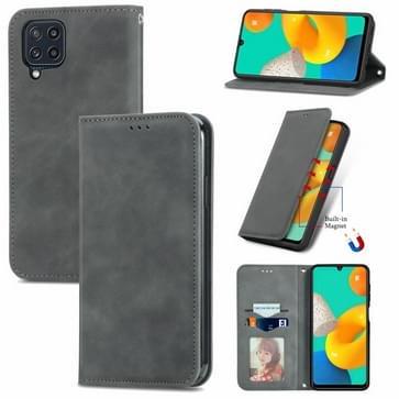 Voor Samsung Galaxy M32 Retro Huid Feel Business Magnetische Horizontale Flip Lederen Case met Houder & Card Slots & Portemonnee & Photo Frame