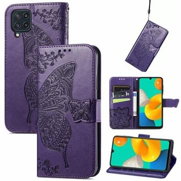 Voor Samsung Galaxy M32 Butterfly Love Flowers Reliëf Horizontale Flip Leren Case Met Houder & Card Slots & Wallet & Lanyard (Dark Purple)