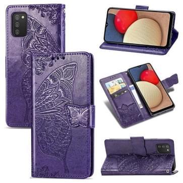 Voor Samsung Galaxy A03S Butterfly Love Flowers Reliëf Horizontale Flip Leren Case met Houder & Card Slots & Wallet & Lanyard (Dark Purple)