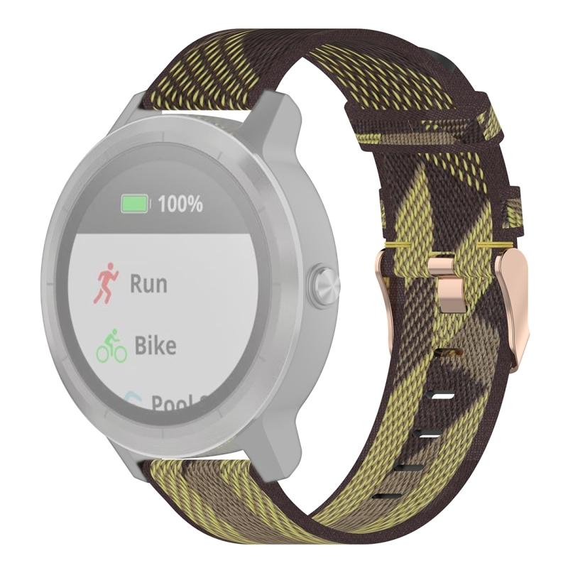 20mm Stripe Weave Nylon Polsband horlogeband voor Garmin Venu  Vivomove 3  Vivoactive 3  Forerunner 245 / 645 (Geel)